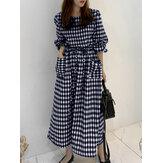 Kadın Ekose Baskı İpli Bel Çift Cepler Puf Kol Maxi Elbise