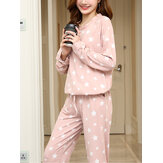 Damen Star Print Langarm Tasche Home Casual Zweiteiliges Pyjama Set