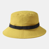 Collrown Automatic Buckle Collapsible Basin Hat Yellow Breathable Fisherman's Hat Bucket Hat