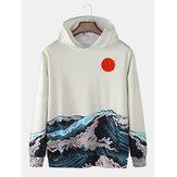 Moletons masculinos de manga comprida estampado paisagem mar com capuz Ukiyoe