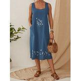 Çiçek Nakış Günlük Günlük Elbise Kadın Ev Bahçe Elbise