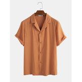 メンズヴィンテージコットン通気性ソリッドカラー半袖カジュアルシャツ