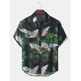 Pánská jeřábová rostlina s lehkými volnými příležitostnými košile s krátkým rukávem