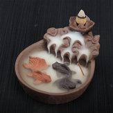 Bruciatore di incenso di porcellana cono di bambù Buddha buddista supporto di legno di sandalo