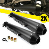 2X Motorcycle Cafe Racer Rear Exhaust Pipe with Sliding Bracke Black Universal