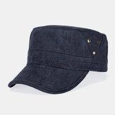 Männer Baumwolle gewaschen Casual Brief einfarbig Militär Hut Flat Hut Peaked Hut