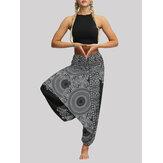 Женская Высокая Талия Винтаж Цветочный Принт Черный Свободный Yoga Гарем Брюки
