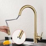 Grifo de fregadero de cocina de oro cepillado Extraer grifo de agua Grifo mezclador monomando 360 Girar