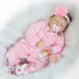 22''Handmade Lifelike Baby Girl Doll Silicone Vinyl Reborn Pasgeboren Dolls Kleding