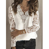 Women Lace Patchwork V-neck Solid Color Casual Sweater