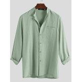 Herenmode 100% katoenen zak effen kleur casual shirts
