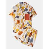 女性Colorfulグラフィティプリントリビア襟ポケットボタンアップカジュアル半袖パジャマセット
