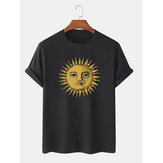 Mens Sun Print Crew Neck Short Sleeve T-Shirts
