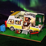 iiecreate K-037 DIY Doll House Leisure Holiday Recreational Vehicle With Cover Music Movement
