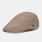 Mens Vintage Letter Embroidery Cotton Beret Caps Outdoor Sunshade Forward Cap Adjustable
