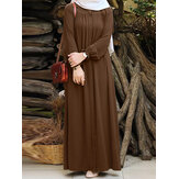 Women Solid Color Pleated Puff Sleeve Robe Vintage Maxi Dress