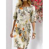 Kadın Vintage Pamuk Çiçekli Bitki Baskı O-Boyun Yarım Kol Bölünmüş Günlük Elbise