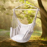 Outdoor Leisure Swing Chair Indoor Rocking Chair Canvas Hammock For Camping Hiking Picnic - White