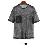 Men's Mesh T-shirt See-through Fishnet Short Sleeve Party Perform Streetwear Tops Hiking Cycling Fitness