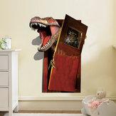 創造的な漫画の3D恐竜PVC壊れた壁のステッカーDIYの取り外し可能な装飾防水壁のステッカー家庭用壁の壁のステッカーポスター壁の壁の装飾の寝室のリビングルーム