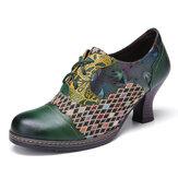SOCOFY - Escarpins à talons épais à carreaux floraux en cuir vintage à lacets