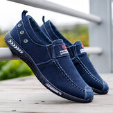 Men Washed Canvas Slip On Comfy Breathable Casual Shoes