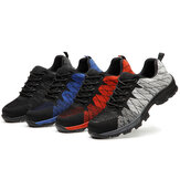 Men Knitted Fabric Steel Toe Anti Smashing Work Safety Sneakers