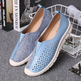 LOSTISY Women Colorblock Comfy Hollow Breathable Casual Flats