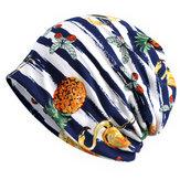 Cappello Beanie a doppio uso con stampa a righe in cotone vintage da donna
