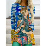 Cartoon Figure Cat Painting Printed O-Neck Long Sleeve Loose Blouse