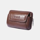 Men Genuine Leather Retro 6 Inch Phone Bag Business Casual Belt Bag Waist Bag