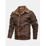 Mens Faux Fur Leather Suedes Warm Fleece Lined Thickened Logo Jackets With Flap Pockets