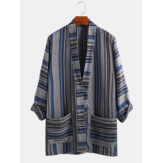 Mens Cotton Vintage Stripe Dual Pocket Kimono Cardigan Shirts
