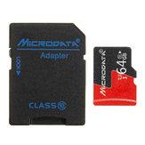 Microdados 64GB C10 U1 Micro TF Cartão de Memória com Conversor Adaptador de Cartão para TF para SD
