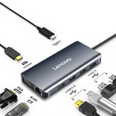 Lenovo LX0808 Multifunzionale 8 in 1 Type-C Hub Docking Station Adapter con 2 * USB 3.0 / 2 * USB 2.0 / HDMI / VGA / PD Fast Charging / RJ45 per MacBook Pro per Samsung Note 9 Televisori Projectors
