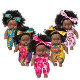 8 İnç Silikon Vinil Elbise Up Moda Afrikalı Kız Gerçekçi Reborn Lifelike Yenidoğan Bebek Doll Oyuncak Çocuklar için Hediye