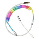 MechZone Custom Coiled Cable Mecânico Teclado DIY Rainbow Coiled USB C Type-C Cabo Cabo trançado