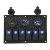12V 6 Gang LED Painel de interruptor basculante disjuntores carregador USB para barco marinho