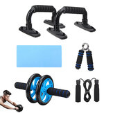5 In 1 AB Roller Kit Knee Pad Push Up Bars Grips Strength Jump Rope Abdominal Core Training Fitness Exercise Tools