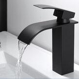 Wodospad Czarna bateria umywalkowa do łazienki Pojedyncza dźwignia Pojedynczy otwór Ciepła i zimna bateria do mycia łazienki