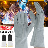 Heat & Fire Resistant Welders Gauntlet Welding Gloves Cowhide Leather Gauntlets