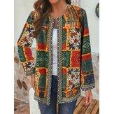 Etnische stijl bloemenprint patchwork vintage jassen met lange mouwen en zakken