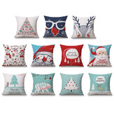 Christmas Linen Cushion Cover 45*45 Pillowcase Sofa Cushions Throw Pillow Case Home Decor Festive Gift