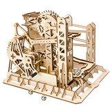 Robotime 4 Arten Handkurbel Marmor Run Spiel DIY Untersetzer Holzmodellbausätze Montage Spielzeug Geschenk für Kinder Erwachsene