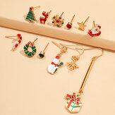 12 قطعة أقراط عيد الميلاد مجموعة عيد الميلاد شجرة ندفة الثلج سانتا كلوز الأيائل أقراط هدية