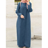 Women Casual Loose Solid Color O-Neck Long Sleeve Kaftan Tunic Denim Dress