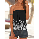Holiday Floral Print Strapless Sleeveless Black Tube Tank Top