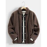 Мужская теплая куртка с длинным рукавом с контрастным карманом