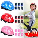 7 IN 1 Kit per casco da bici per bambini con protezione per ginocchia, polsi, gomiti, pattini a rotelle, equipaggiamento protettivo per bambini dai 4 ai 16 anni