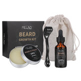 MELAO 4Pcs Beard Oil Beard Balm Rodillo Micro Needle Moustache Care for Men Grooming Gifts